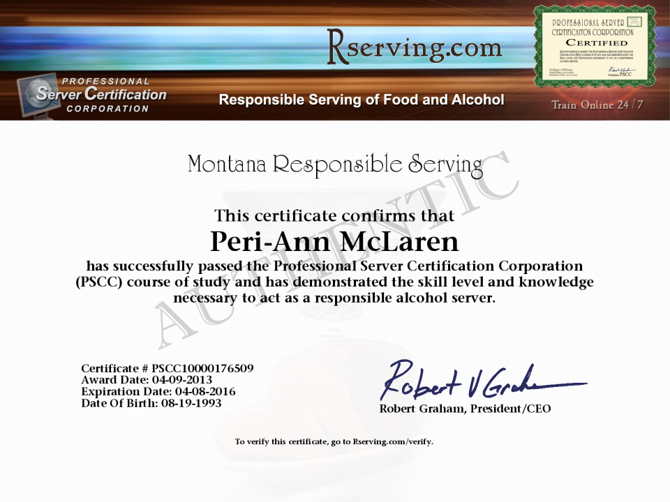 Peri Ann Mclaren Certificate Montana On Premises Responsible